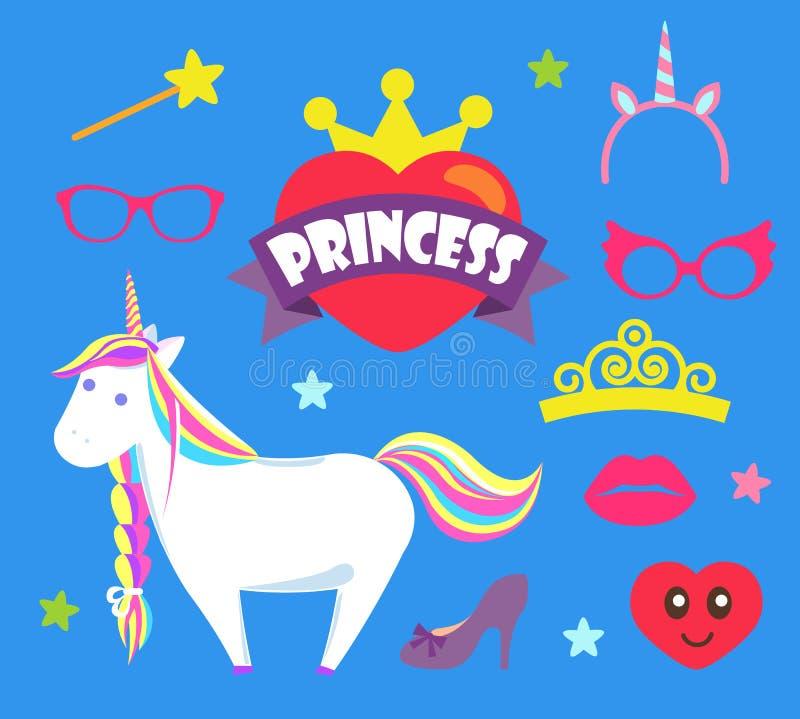Εικονίδια μονοκέρων και κορωνών κόμματος πριγκηπισσών καθορισμένα διανυσματικά ελεύθερη απεικόνιση δικαιώματος