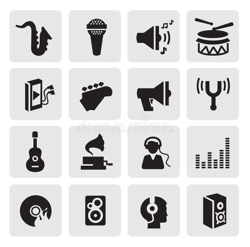 Εικονίδια μουσικής διανυσματική απεικόνιση