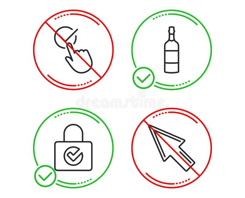 Εικονίδια μπουκαλιών κρυπτογράφησης, τετραγωνιδίου και κονιάκ κωδικού πρόσβασης καθορισμένα r r ελεύθερη απεικόνιση δικαιώματος