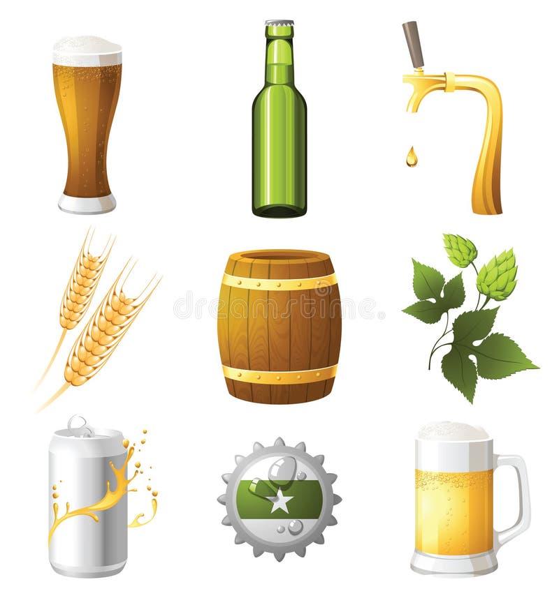 εικονίδια μπύρας απεικόνιση αποθεμάτων