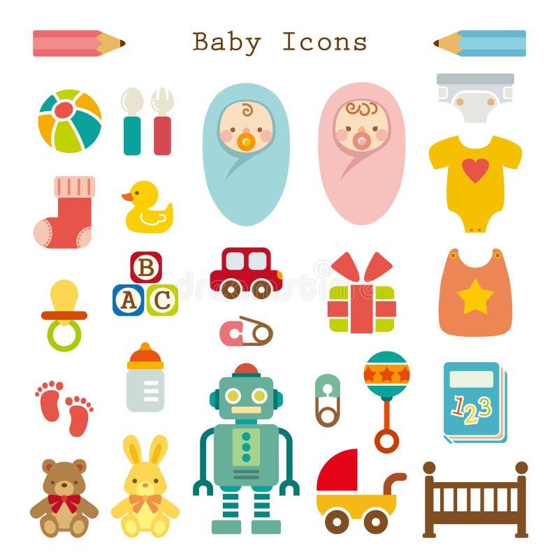 Εικονίδια μωρών που τίθενται διανυσματική απεικόνιση