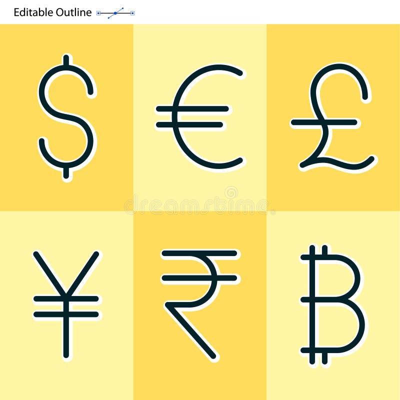 Εικονίδια νομίσματος, δολάριο, ευρώ, γεν, ρουπία, λίβρα, bitcoin, νόμισμα, ε διανυσματική απεικόνιση