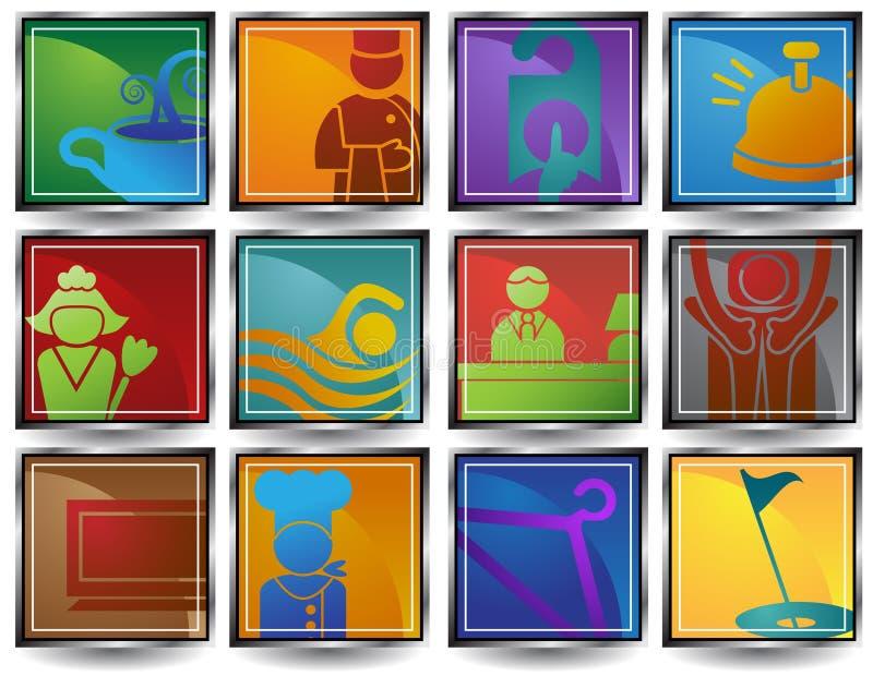 εικονίδια ξενοδοχείων ελεύθερη απεικόνιση δικαιώματος