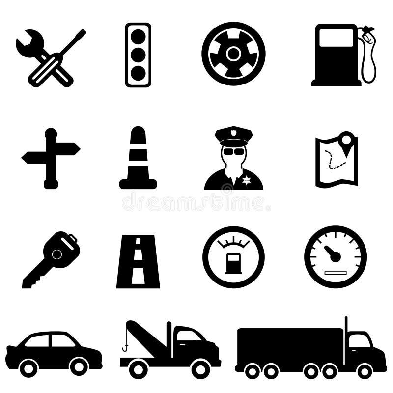 Εικονίδια οδήγησης και κυκλοφορίας διανυσματική απεικόνιση