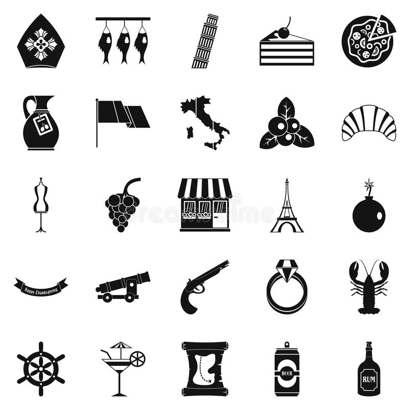 Εικονίδια οινοπνεύματος καθορισμένα, απλό ύφος απεικόνιση αποθεμάτων