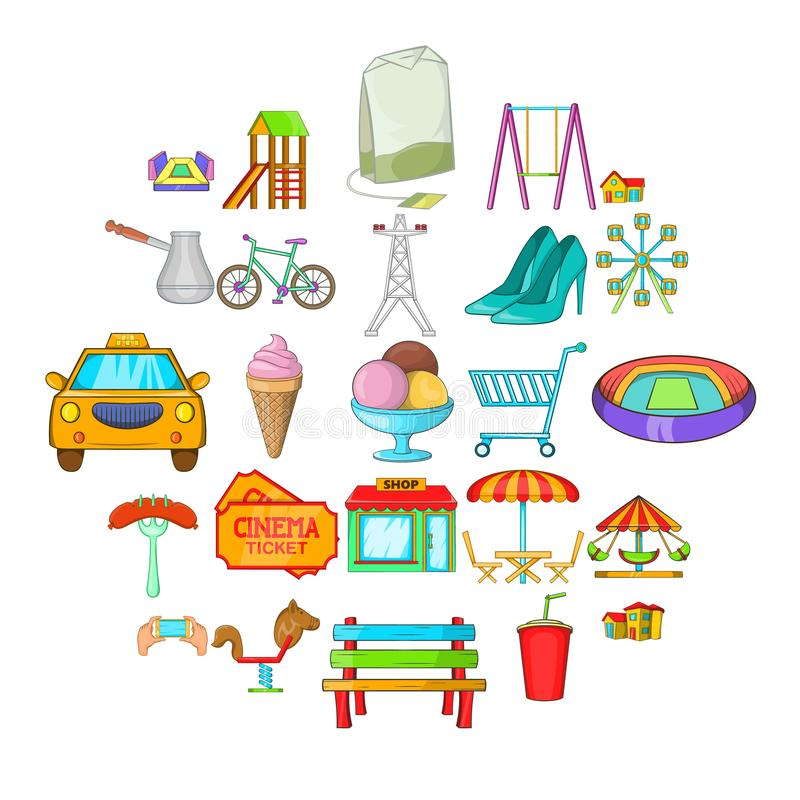 Εικονίδια παιδικών χαρών καθορισμένα, ύφος κινούμενων σχεδίων διανυσματική απεικόνιση