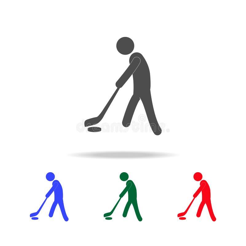 Εικονίδια παικτών χόκεϋ πάγου Στοιχεία του αθλητικού στοιχείου στα πολυ χρωματισμένα εικονίδια Γραφικό εικονίδιο σχεδίου εξαιρετι απεικόνιση αποθεμάτων