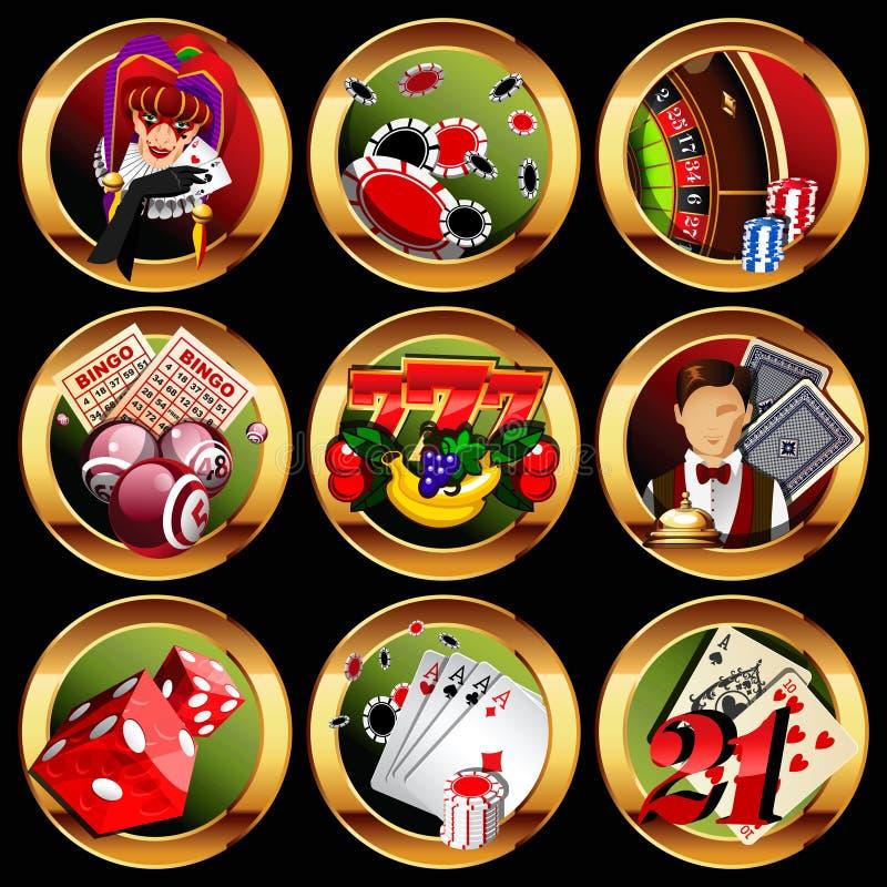 εικονίδια παιχνιδιού χαρτοπαικτικών λεσχών που τίθενται ελεύθερη απεικόνιση δικαιώματος