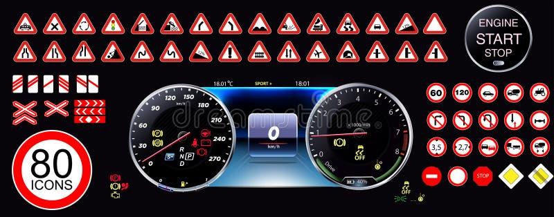 εικονίδια 80 πακέτων - ταμπλό αυτοκινήτων, εικονίδια οδικών σημαδιών, διανυσματική απεικόνιση ταμπλό, συλλογή, προειδοποιήσεις, E ελεύθερη απεικόνιση δικαιώματος