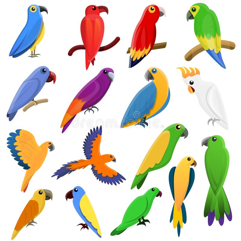 Εικονίδια παπαγάλων καθορισμένα, ύφος κινούμενων σχεδίων απεικόνιση αποθεμάτων