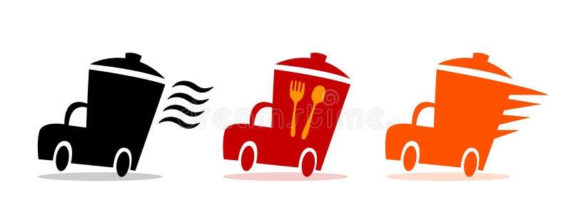 Εικονίδια παράδοσης γρήγορου φαγητού, εστιατόριο υπηρεσιών τροφίμων logotype και καφές Διανυσματική παράδοση τροφίμων λογότυπων σ διανυσματική απεικόνιση