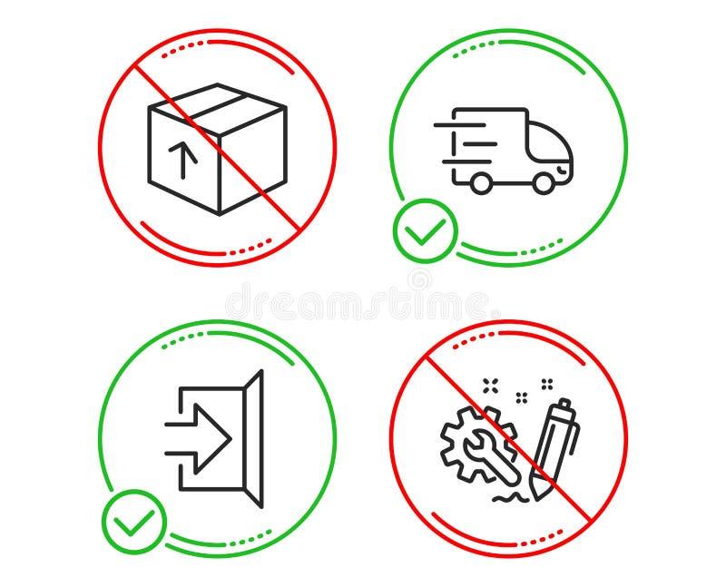Εικονίδια παράδοσης συσκευασίας, εξόδων και φορτηγών καθορισμένα Σημάδι εφαρμοσμένης μηχανικής Πακέτο παράδοσης, διαφυγή, σαφής υ ελεύθερη απεικόνιση δικαιώματος