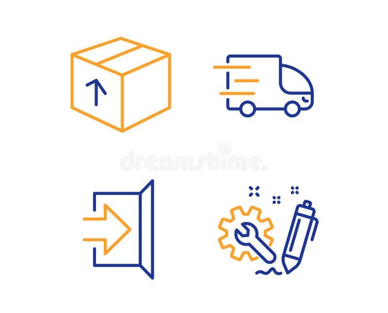 Εικονίδια παράδοσης συσκευασίας, εξόδων και φορτηγών καθορισμένα Σημάδι εφαρμοσμένης μηχανικής Πακέτο παράδοσης, διαφυγή, σαφής υ διανυσματική απεικόνιση