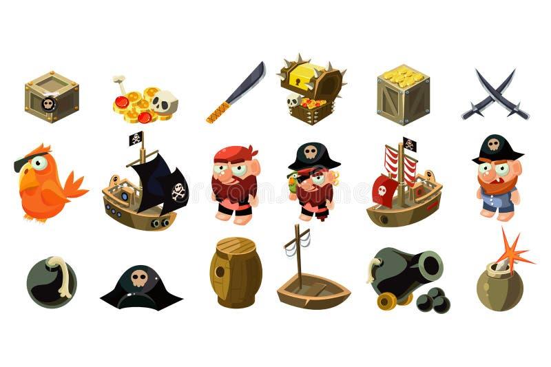 Εικονίδια πειρατών κινούμενων σχεδίων καθορισμένα Κινητά προτερήματα παιχνιδιών Καπετάνιος, παπαγάλος, sailboat, στήθος θησαυρών, ελεύθερη απεικόνιση δικαιώματος