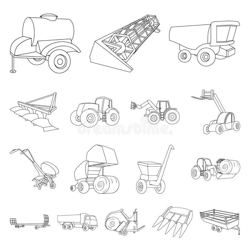 Εικονίδια περιλήψεων γεωργικών μηχανημάτων στην καθορισμένη συλλογή για το σχέδιο Διανυσματικός Ιστός αποθεμάτων συμβόλων εξοπλισ διανυσματική απεικόνιση