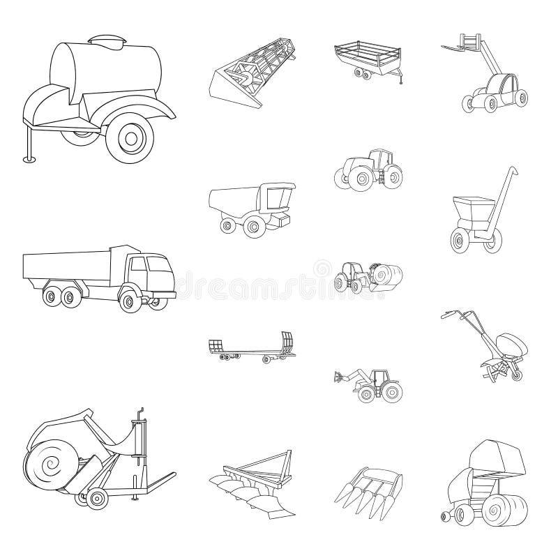 Εικονίδια περιλήψεων γεωργικών μηχανημάτων στην καθορισμένη συλλογή για το σχέδιο Διανυσματικός Ιστός αποθεμάτων συμβόλων εξοπλισ απεικόνιση αποθεμάτων