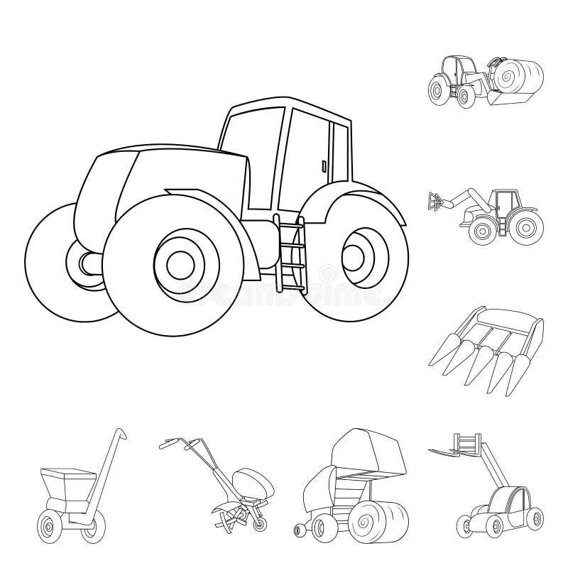 Εικονίδια περιλήψεων γεωργικών μηχανημάτων στην καθορισμένη συλλογή για το σχέδιο Διανυσματικός Ιστός αποθεμάτων συμβόλων εξοπλισ ελεύθερη απεικόνιση δικαιώματος