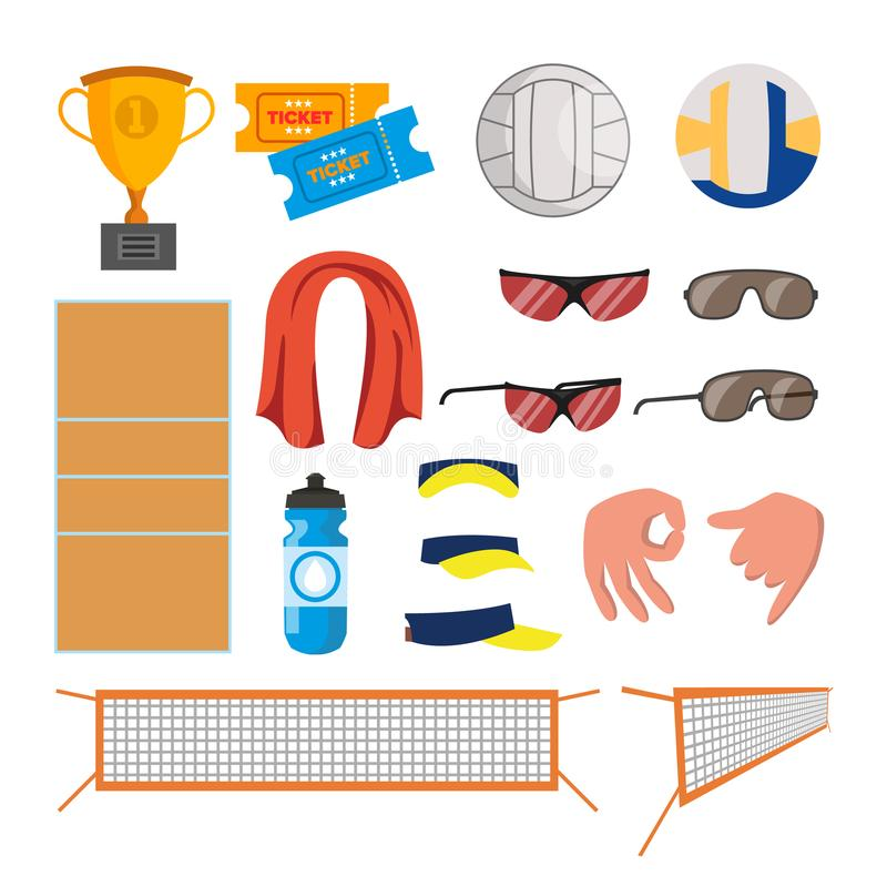 Εικονίδια πετοσφαίρισης παραλιών καθορισμένα διανυσματικά Εξαρτήματα πετοσφαίρισης Φλυτζάνι, εισιτήρια, σφαίρα, γυαλιά, πετσέτα,  διανυσματική απεικόνιση