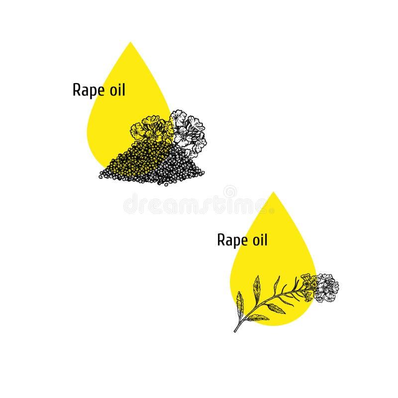Εικονίδια πετρελαίου βιασμών καθορισμένα Συρμένο χέρι σκίτσο Εκχύλισμα των εγκαταστάσεων r απεικόνιση αποθεμάτων