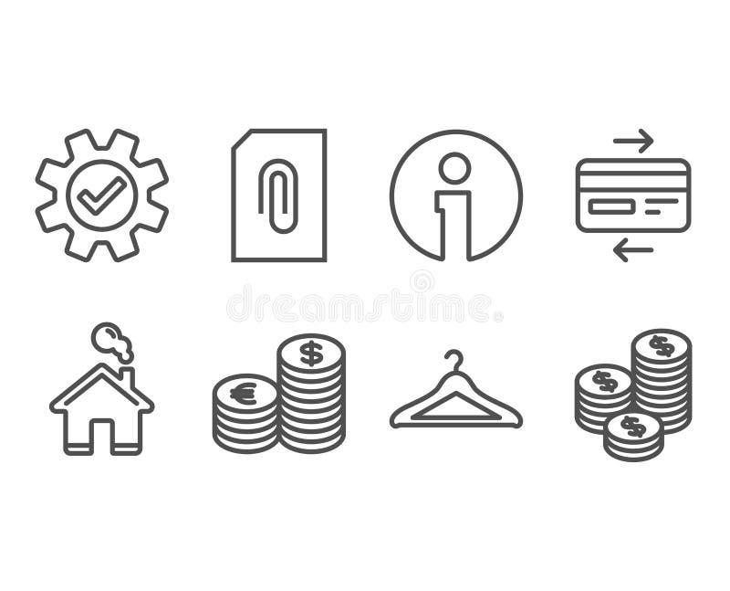 Εικονίδια πιστωτικών καρτών, υπηρεσιών και νομίσματος Βεστιάριο, σύνδεση και σημάδια νομισμάτων διανυσματική απεικόνιση