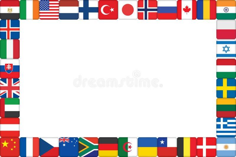 εικονίδια πλαισίων σημαιών που γίνονται τον κόσμο ελεύθερη απεικόνιση δικαιώματος