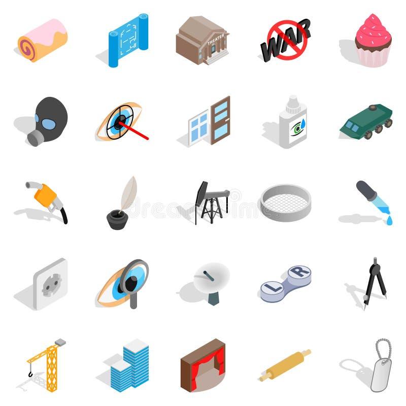 Εικονίδια πλασμάτων καθορισμένα, isometric ύφος ελεύθερη απεικόνιση δικαιώματος