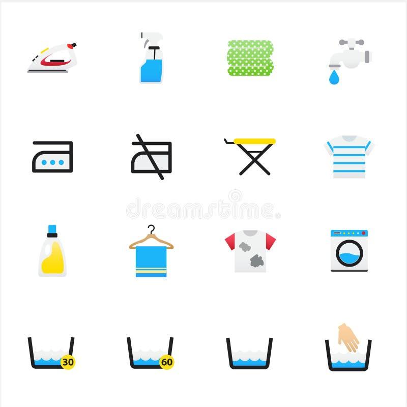 Εικονίδια πλυντηρίων και πλύσης Διανυσματικό επίπεδο ύφος εικονιδίων χρώματος απεικόνισης διανυσματική απεικόνιση