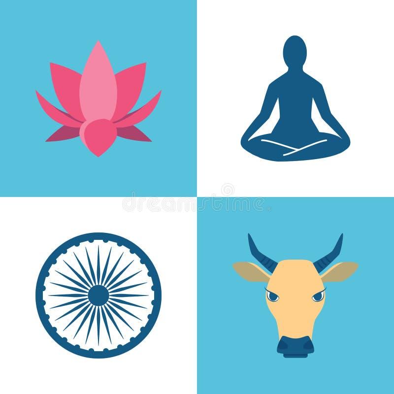 Εικονίδια πολιτισμού της Ινδίας που τίθενται στο επίπεδο ύφος ελεύθερη απεικόνιση δικαιώματος