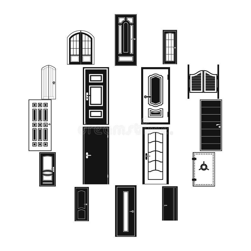 Εικονίδια πορτών καθορισμένα, απλό ύφος διανυσματική απεικόνιση