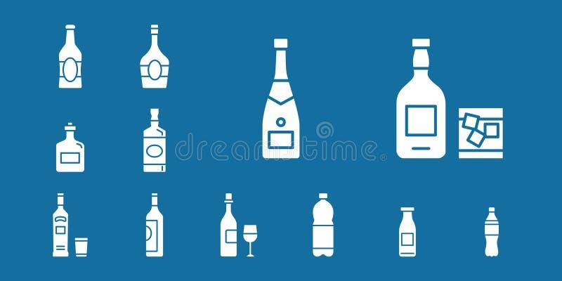 Εικονίδια ποτών & μπουκαλιών - καθορισμένος Ιστός & κινητά 04 ελεύθερη απεικόνιση δικαιώματος