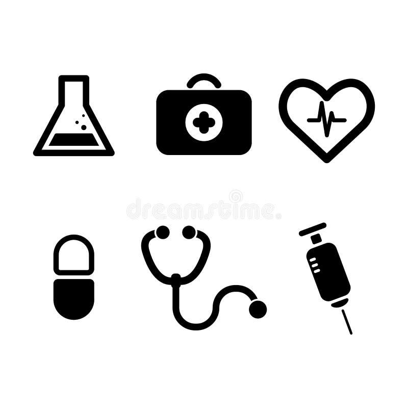 εικονίδια που τίθενται ιατρικά στο ύφος κουμπιών κύκλων διανυσματική απεικόνιση
