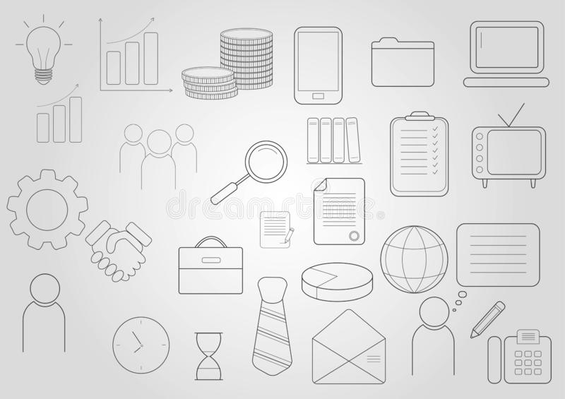 εικονίδια που τίθενται &epsi Εικονίδια για την επιχείρηση, διαχείριση, χρηματοδότηση, στρατηγική, μάρκετινγκ ελεύθερη απεικόνιση δικαιώματος