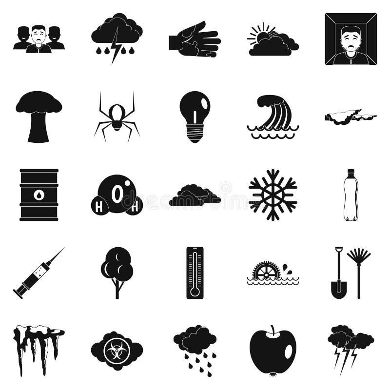Εικονίδια προειδοποίησης καθορισμένα, απλό ύφος διανυσματική απεικόνιση