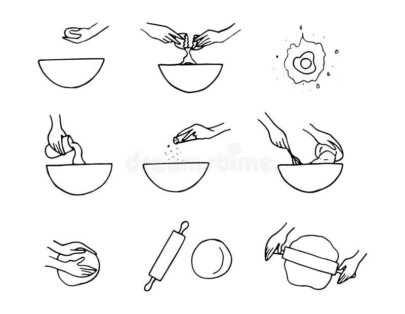 Εικονίδια προετοιμασιών ζύμης διανυσματική απεικόνιση