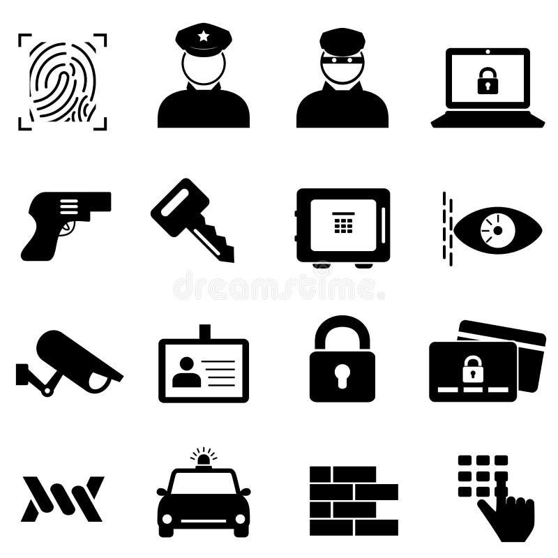 Εικονίδια προστασίας, ασφάλειας και εγκλήματος στοκ φωτογραφία με δικαίωμα ελεύθερης χρήσης