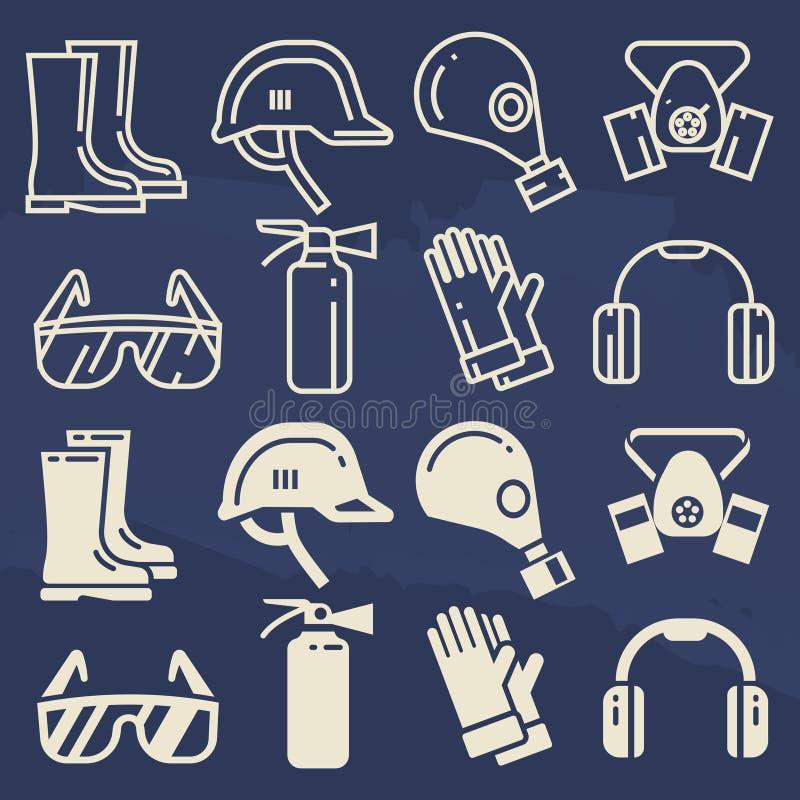 Εικονίδια προσωπικού προστατευτικού εξοπλισμού καθορισμένα - στοιχεία προστασίας εργασίας ασφάλειας διανυσματική απεικόνιση