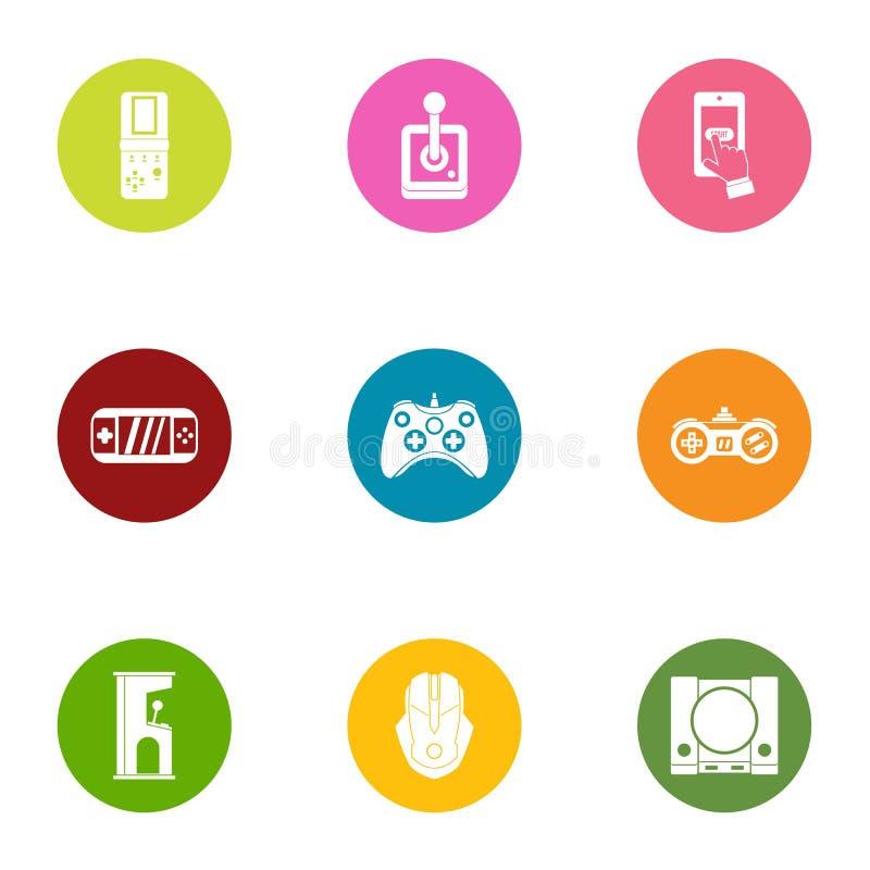 Εικονίδια προσωρινών σύνδεση σταθμών παιχνιδιών καθορισμένα, επίπεδο ύφος διανυσματική απεικόνιση