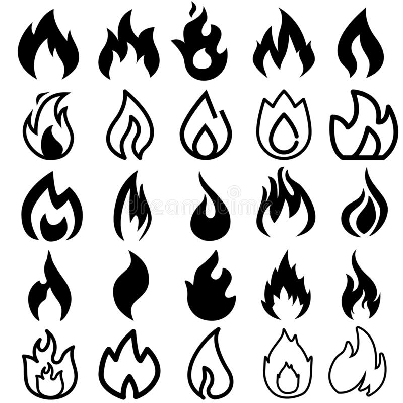 Εικονίδια πυρκαγιάς Καίγοντας λογότυπα σκιαγραφιών φλογών, απλά σύμβολα πυρκαγιάς για την καυτές σάλτσα και τη σχάρα κουζινών Δια διανυσματική απεικόνιση
