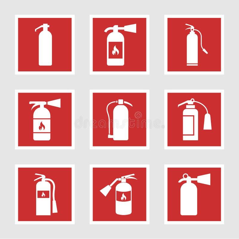 Εικονίδια πυροσβεστήρων και σημάδια, διανυσματική απεικόνιση διανυσματική απεικόνιση