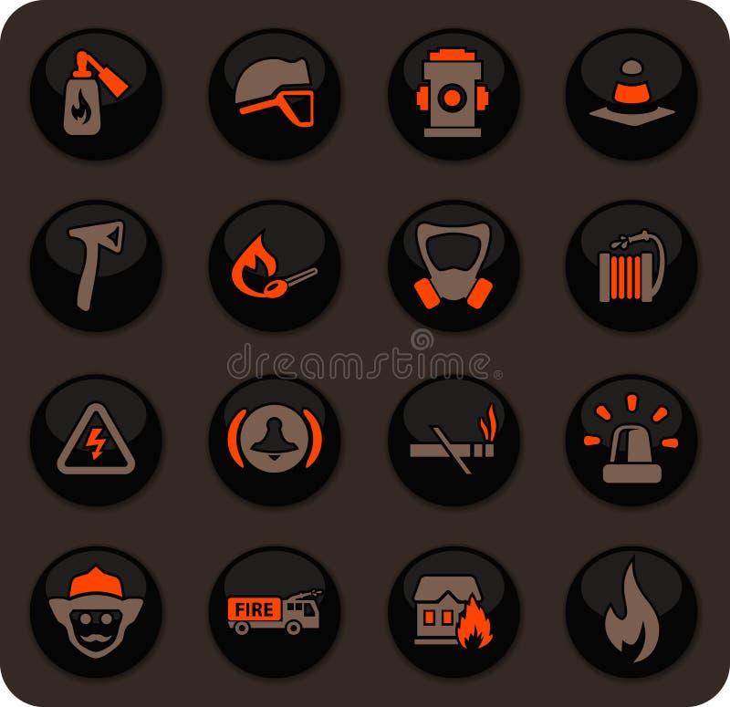 Εικονίδια πυροσβεστικών καθορισμένα απεικόνιση αποθεμάτων