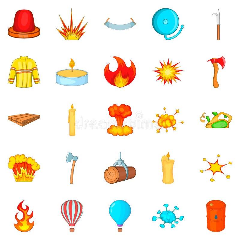 Εικονίδια πυροσβεστών καθορισμένα, ύφος κινούμενων σχεδίων διανυσματική απεικόνιση