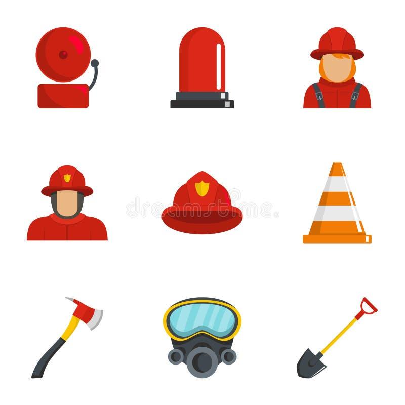 Εικονίδια πυροσβεστών καθορισμένα, ύφος κινούμενων σχεδίων απεικόνιση αποθεμάτων