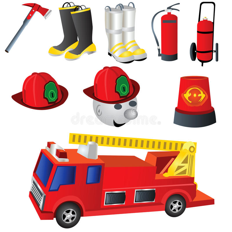 εικονίδια πυροσβεστών διανυσματική απεικόνιση