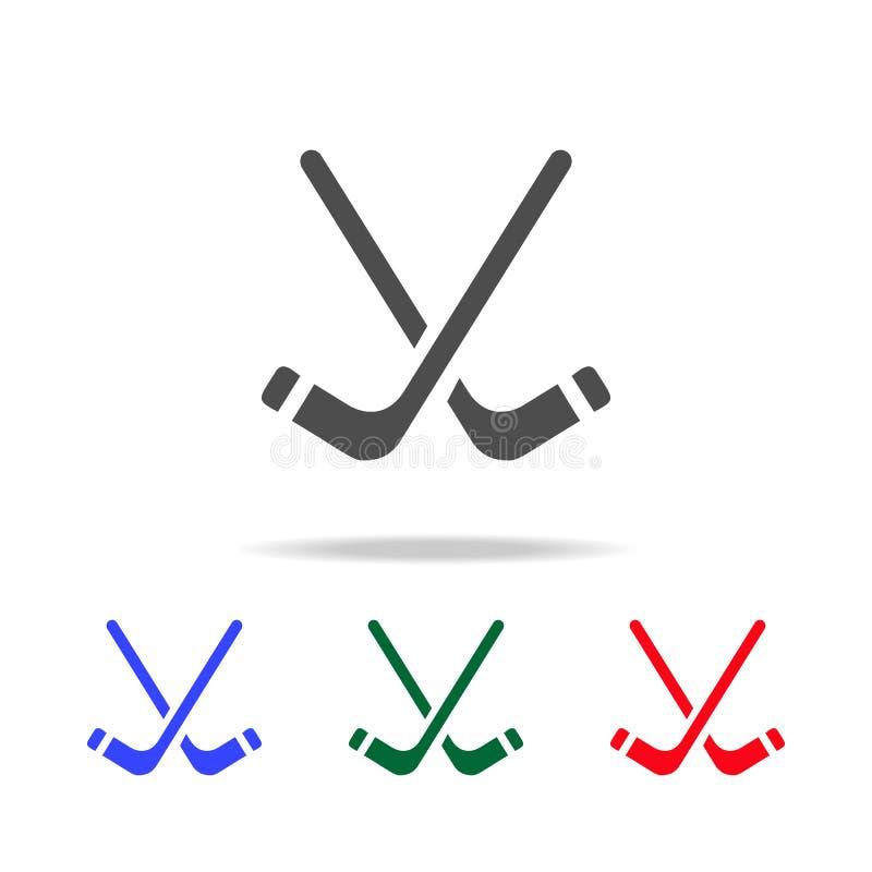 Εικονίδια ραβδιών χόκεϋ Στοιχεία του αθλητικού στοιχείου στα πολυ χρωματισμένα εικονίδια Γραφικό εικονίδιο σχεδίου εξαιρετικής πο απεικόνιση αποθεμάτων