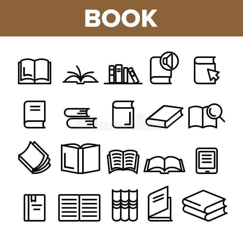 Εικονίδια σημαδιών βιβλίων βιβλιοθήκης συλλογής καθορισμένα διανυσματικά ελεύθερη απεικόνιση δικαιώματος