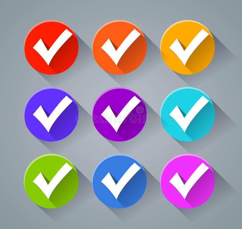Εικονίδια σημαδιών ελέγχου με τα διάφορα χρώματα διανυσματική απεικόνιση