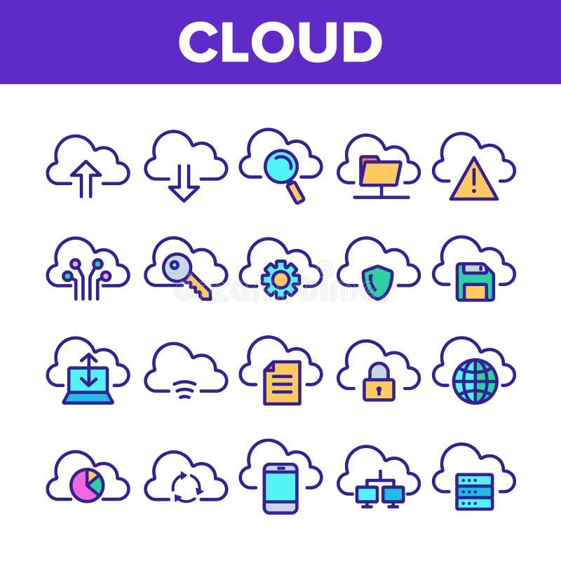 Εικονίδια σημαδιών υπηρεσιών σύννεφων χρώματος καθορισμένα διανυσματικά ελεύθερη απεικόνιση δικαιώματος