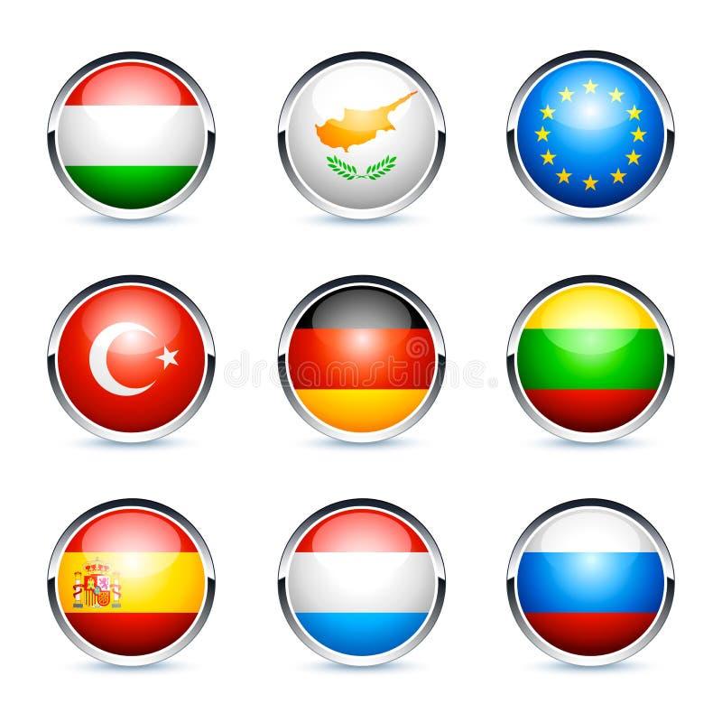 εικονίδια σημαιών διεθνή διανυσματική απεικόνιση