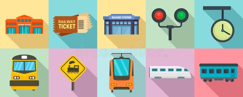 Εικονίδια σιδηροδρομικών σταθμών καθορισμένα, επίπεδο ύφος διανυσματική απεικόνιση