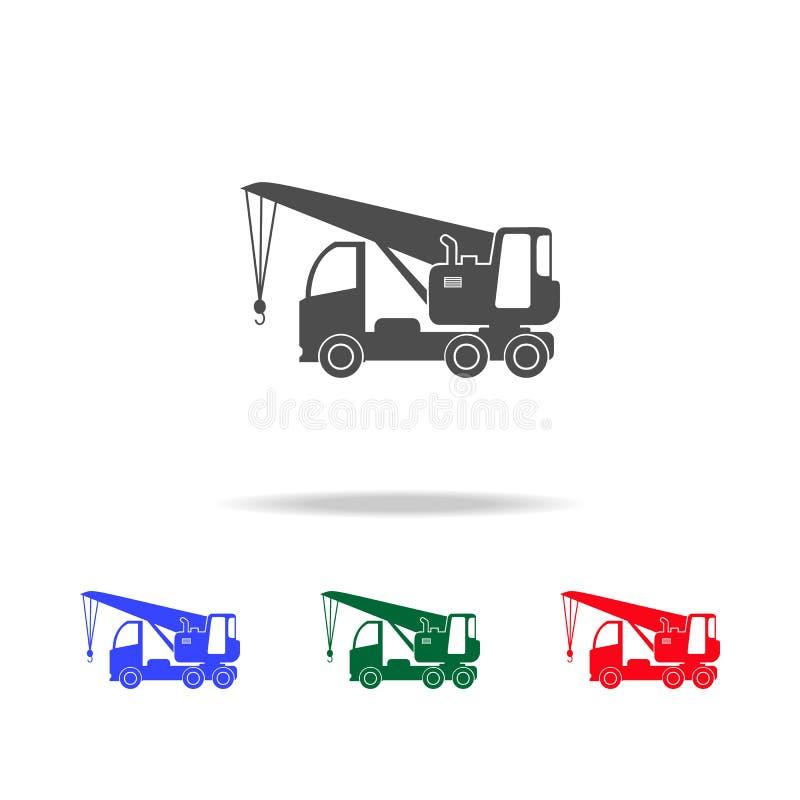 Εικονίδια σκιαγραφιών γερανών φορτηγών Στοιχεία του στοιχείου μεταφορών στα πολυ χρωματισμένα εικονίδια Γραφικό εικονίδιο σχεδίου διανυσματική απεικόνιση